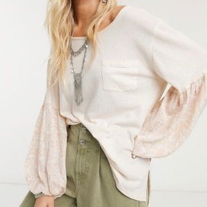 Free People Floral Jade Balloon Sleeve Top Ecru